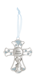 Jesus Loves Me Crib Cross Ornament- Boy
