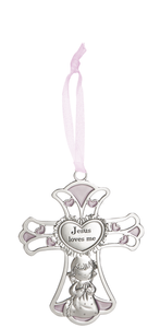 Jesus Loves Me Crib Cross Ornament- Girl