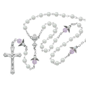 5mm White Pearl/Pink Angel Rosary