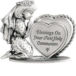 First Communion Girl Metal Figurine