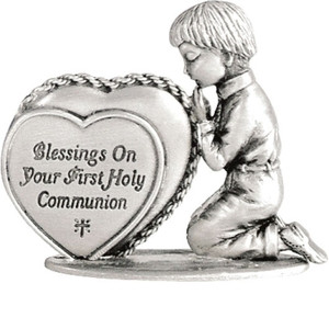 First Communion Boy Metal Figurine