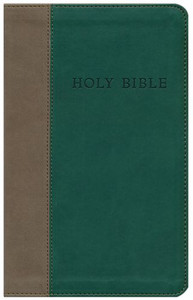KJV Soft Brown/ Green Leatherette Bible
