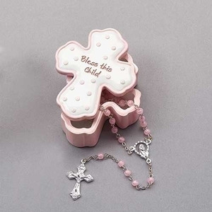 Bless this Child- Pink Box w/ Rosary