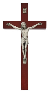Cherry Painted Wood Crucifix