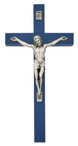 Blue Painted Wood Crucifix