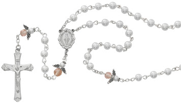 5mm White Pearl and Pink Angel Rosary