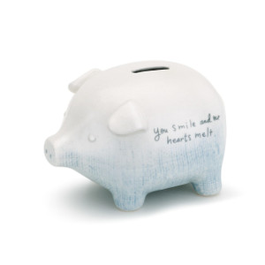 Blue You Smile Piggy Bank
