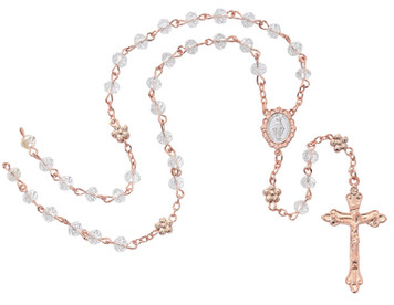 6mm Crystal Rose Gold Rosary