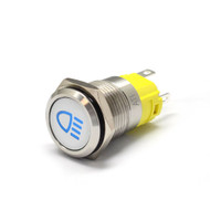 "Alpinetech 16mm 5/8"" LED Pushbutton Switch with Symbol (High Beam)"