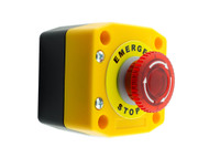 Alpinetech B1MBL Illuminated LED Red 22mm 1NC Push Button Emergency Stop Switch with Control Box