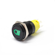 "Alpinetech 16mm 5/8"" Black Bezel LED Pushbutton Switch with Symbol (Headlight)"
