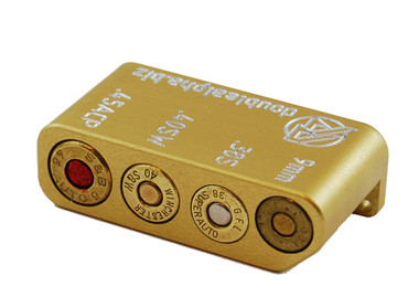 DAA Golden Multi Caliber (9mm, 38 Super, 40 S&W, 45 ACP) Case Gauge by Double Alpha Academy