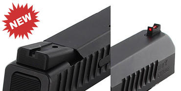 CZ P10 C Carry Fixed Sight Set - Black Rear & Fiber Optic Front by Dawson Precision