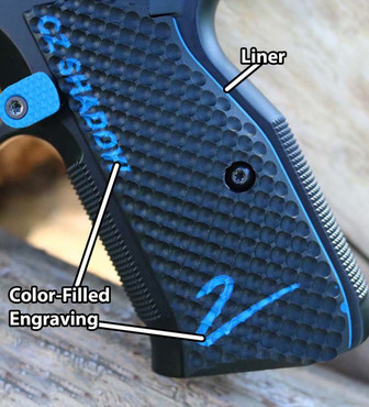 """CZ Shadow 2 Palm Swell Bogies Grips - Color-Fill Engraved """"CZ SHADOW 2"""" (CZ75S2PSBCFEL)"""