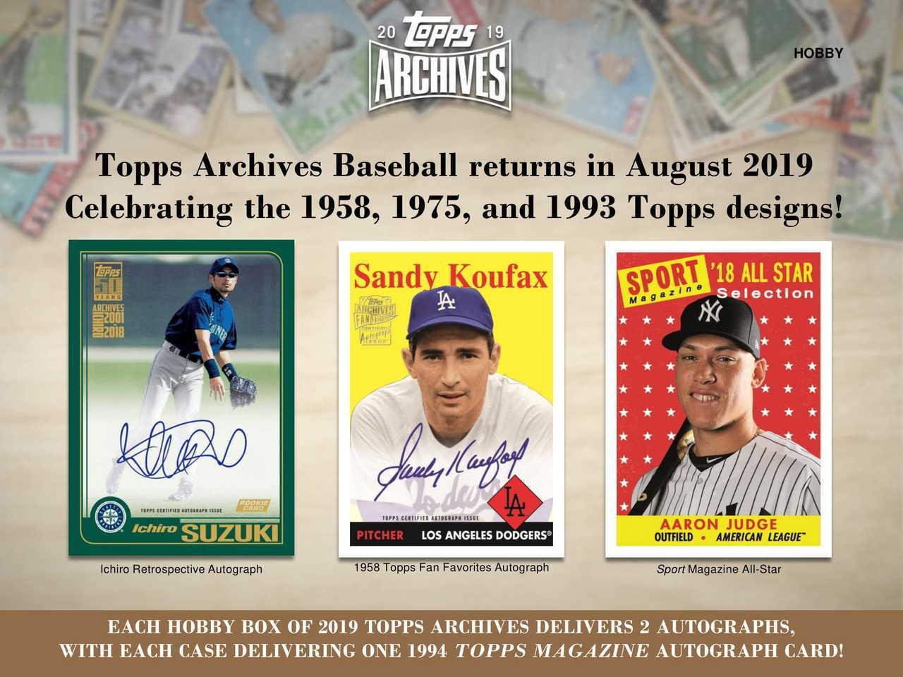 2019 Topps Archives Baseball Hobby 10 Box Case The