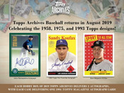 2019 Topps Archives Baseball Hobby 10 Box Case