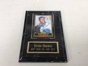 Ernie Banks Autographed Card W/Plaque Chicago Cubs COA #5078