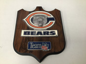 Chicago Bears Metal Logo Wooden Shield Plaque  #5132