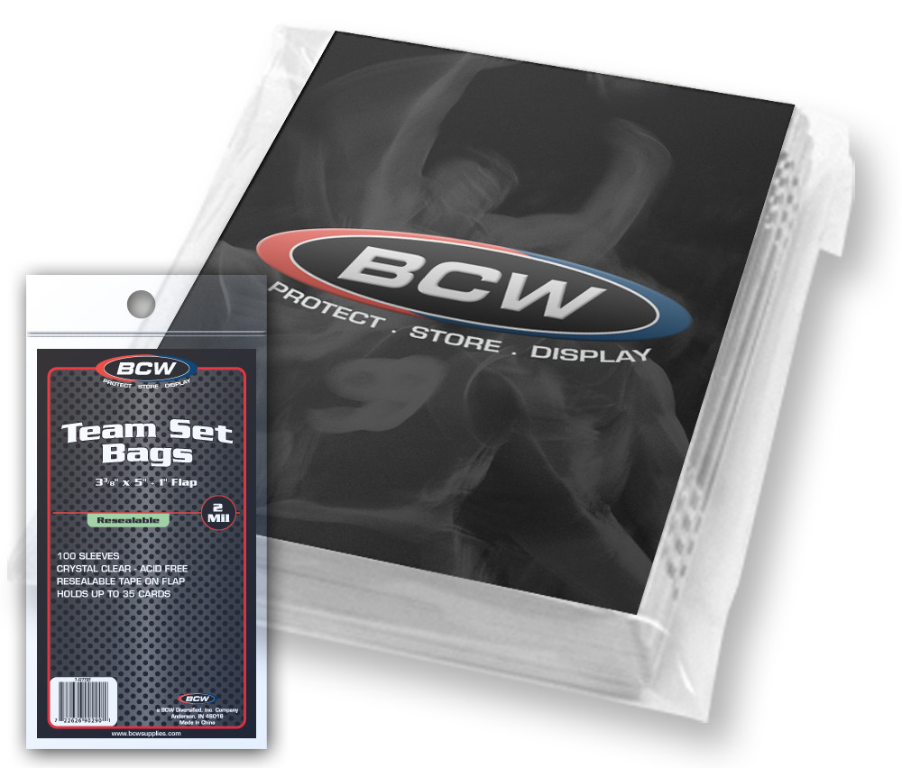 Bcw Resealable Team Set Bags 100100ct Case The Baseball