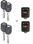 Two Ford Keys and two Keyless Entry Remotes