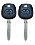 2 Toyota Transponder Key Blanks with 4D67  Chip (dot on blade)