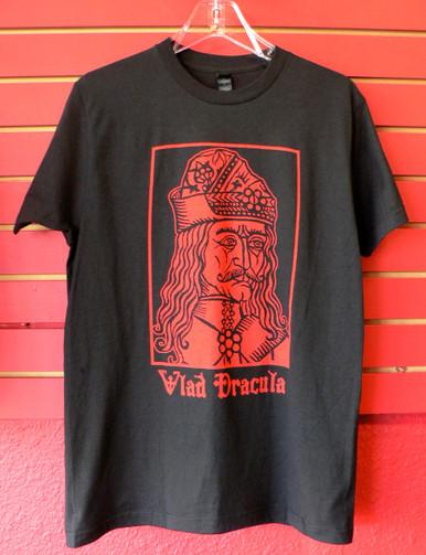 Vlad Dracula Vampyre Woodcut T-Shirt Front