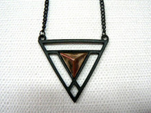 Solar Vortex Gun Metal Necklace with Copper Tone Accent