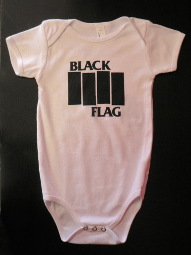 Black Flag Bars Logo Baby Onesie in White SST Records