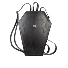 Gothic Black Leather Coffin Back Pack from Alchemy of England