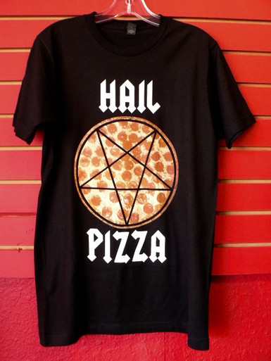 Hail Pizza - Heavy Metal Pentagram Pizza T-Shirt