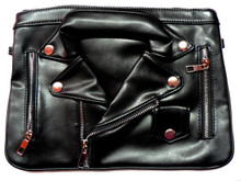 Ladies Leather Motorcycle Jacket Clutch Purse