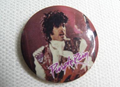 Vintage 80s Prince Purple Rain Pin / Button / Badge