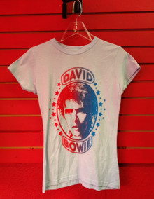 David Bowie Girls Cut Retro Print T-Shirt in Blue