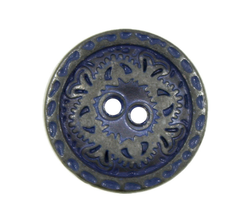 Flower Engraving Gunmetal Navy Blue Metal Hole Buttons - 15mm - 5/8 inch