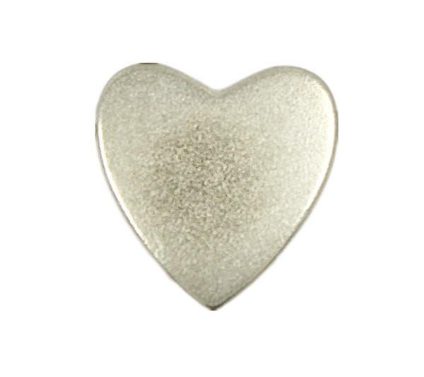 Matte Silver Heart Shaped Metal Buttons - 14mm - 9/16 inch