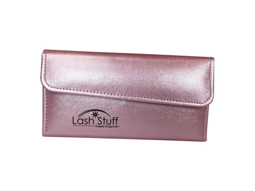 Pink Bi-fold eyelash extension tweezer case by Lash Stuff