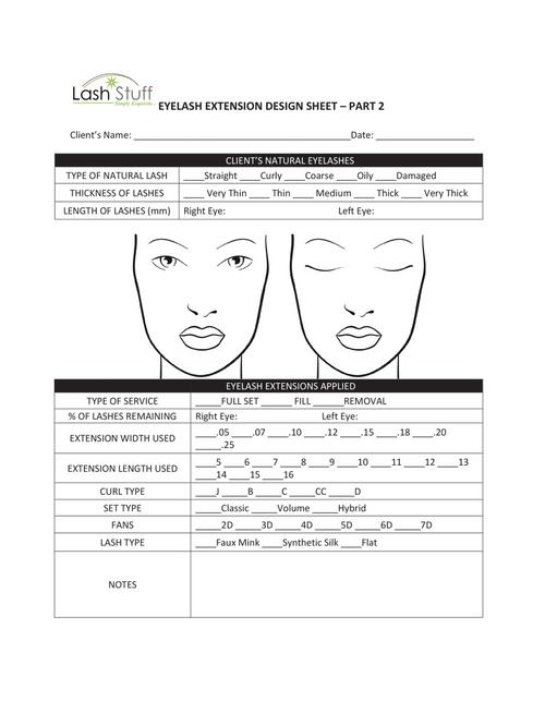 Eyelash Extension Design Sheet by Lash Stuff