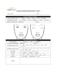 Eyelash Extension Design Sheet by Lash Stuff