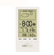 Digital Temperature Humidity Gauge with Clock for eyelash extensions LashStuff.com