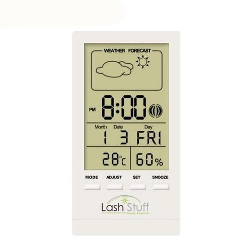 Digital Temperature Humidity Gauge with Clock for eyelash extensions LashStuff.com