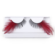Red feather false strip eyelashes by Lash Stuff