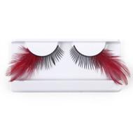 Red feather false strip eyelashes by Lash Stuff