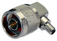 Type N Male Right Angle Connector For LMR195 / LOW195 /RG58 / RG142 / RG223 / RG400 cables - Crimp Connector with Captivated Pin - NML195CRA
