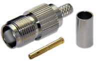 TNC Female Connector For LMR240 / LMR240UF / LOW240 / RG8x - Crimp Connector with Solder Pin - TNCFL240CS