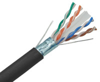 CAT6A Plenum Bulk Ethernet Cable, CMP, Shielded Solid Copper Conductors, 23AWG 1000FT