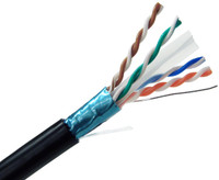 CAT6A Outdoor Bulk Ethernet Cable, Direct Burial Shielded Solid Copper, 23 AWG 1000FT