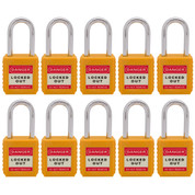 "10pcs Nylon safety lockout padlock 1-1/2""(40mm), Keyed Alike, Yellow"