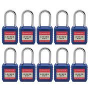 """10pcs Nylon safety lockout padlock 1-1/2""""(40mm), Keyed Alike, Blue"""