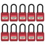 """10pcs Insulated nylon safety lockout padlock 1-1/2""""(40mm), Keyed Alike, Red"""