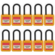 "10pcs Insulated nylon safety lockout padlock 1-1/2""(40mm), Keyed Alike, Yellow"